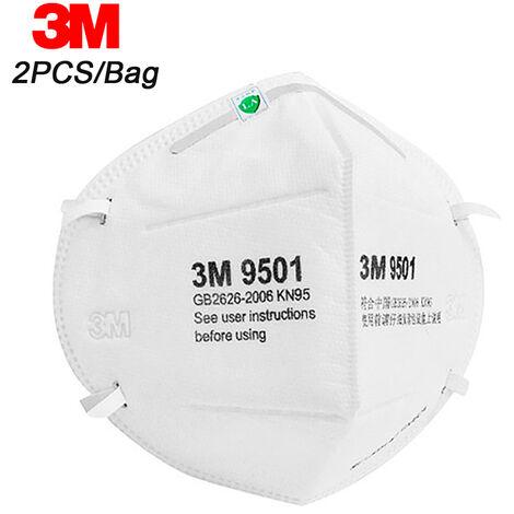 3M 9501 Kn95 Respirateur Masques De Protection Masque De Securite Pm2,5 Smog Haze Antipoussiere, 2Pcs