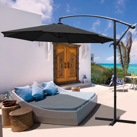 3M Banana Parasol Patio Umbrella Sun Shade Shelter with Cross Base