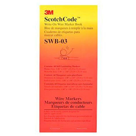 3m france 80781   3m 80781 - scotchcode swb-3 carnet 60 étiquettes 25,4x25,4mm marquage pour câbles 8 à 15mm