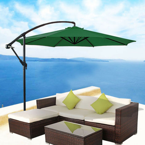 3M Solar Sun Umbrella 32 LED Garden Banana Parasol Patio Cantilever Canopy Cover