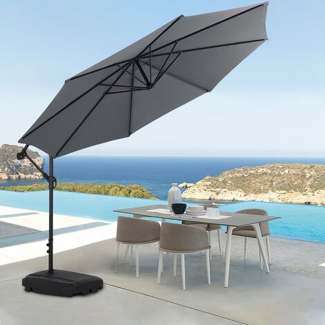 3M Garden Hanging Parasol Cantilever Sun Shade Patio Banana Umbrella, Dark Grey