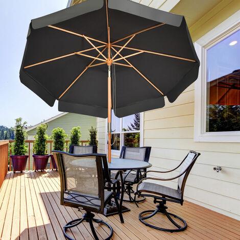 3m Garden Parasol Umbrella Garden Outdoor Sun Shade Push Button Tilt Wood Pole