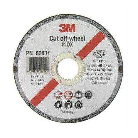 3M inoxidable de corte de acero de diámetro de disco de 115 x 1,6 mm de espesor x 5