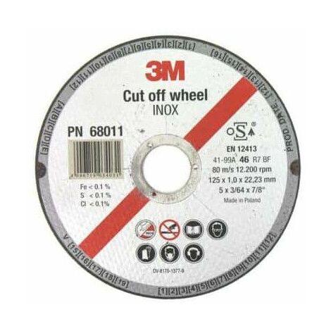 3M inoxidable de corte de acero de diámetro de disco de 125 x 1,0 mm de espesor x 1