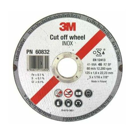 3M inoxidable de corte de acero de diámetro de disco de 125 x 1,6 mm de espesor x 1