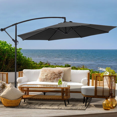 3M Large Garden Hanging Parasol Cantilever Sun Shade Patio Banana Umbrella