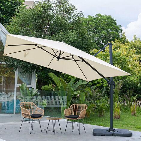 "main image of ""3M Large Garden Roma Tilting Aluminium Cantilever Parasol With Petal Base, Dark Green"""
