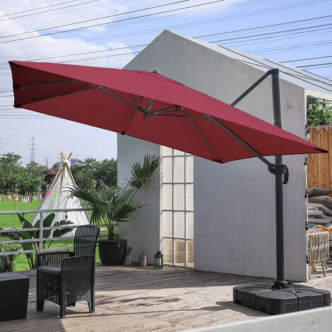 "main image of ""3M Large Garden Roma Tilting Aluminium Cantilever Parasol With Square Base, Light Grey"""