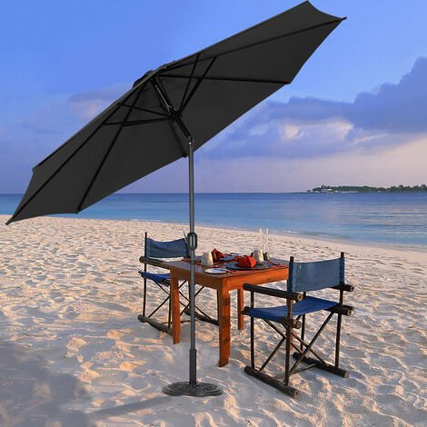 3M Large Round Garden Parasol Outdoor Beach Umbrella Patio Sun Shade Crank Tilt