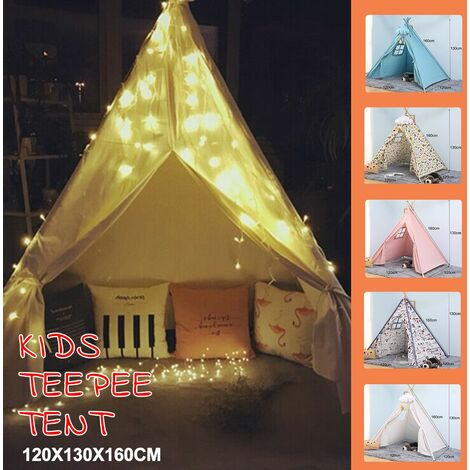 3m LED Light + Large Boy Girl Wigwam Cubby Indoor Outdoor Play Teepee Tent (Flower Color)