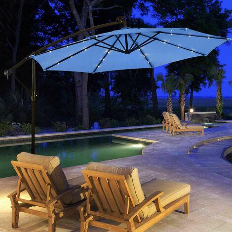 3m Outdoor LED Parasol Sun Shade Solar Patio Banana Cantilever Hanging Umbrella Blue