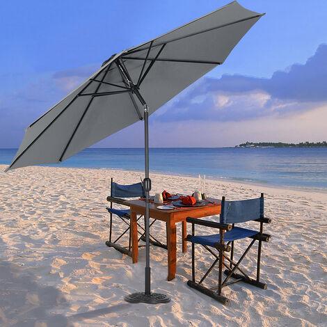 3M Parasol Umbrella Patio Sun Shade Crank Tilt with Round Base