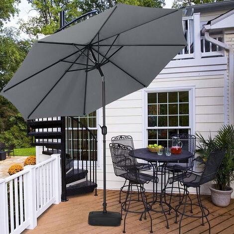3M Parasol Umbrella Patio Sun Shade Crank Tilt with Square Base