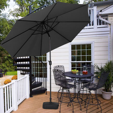 3M Parasol Umbrella Patio Sun Shade Crank Tilt with Square Base