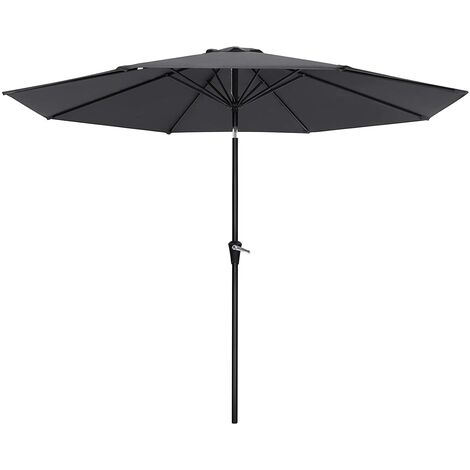 3m Parasol Umbrella, Sun Shade, Octagonal Polyester Canopy, with Tilt and Crank Mechanism, for Outdoor Gardens, Balcony and Patio, Beige/Taupe/Grey