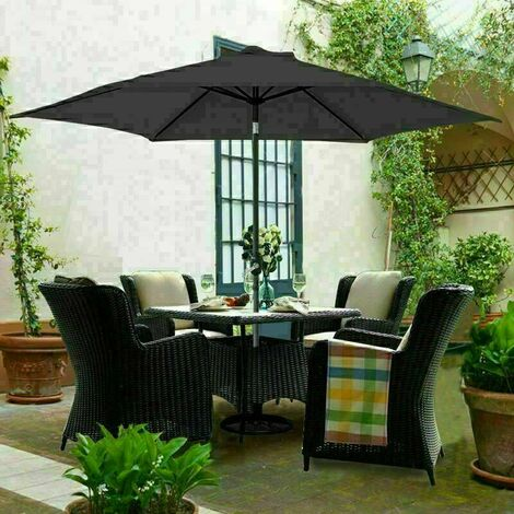 3M Round Garden Parasol Outdoor Patio Sun Shade Umbrella with Tilt Crank Black