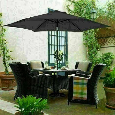 """main image of """"3M Round Garden Parasol Outdoor Patio Sun Shade Umbrella with Tilt Crank Black"""""""