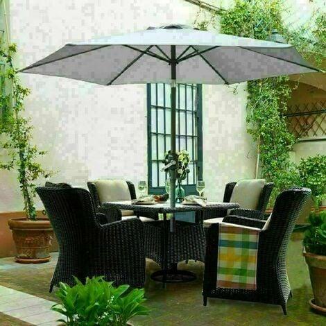 3M Round Garden Parasol Outdoor Patio Sun Shade Umbrella with Tilt Crank Grey