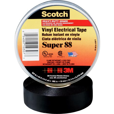 """main image of """"3M SUPER88-38X33 Ruban isolant Scotch® noir (L x l) 33 m x 38 mm 1 pc(s) C051691"""""""