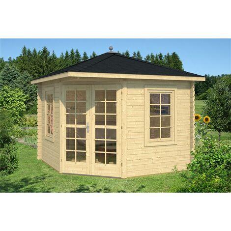 3m x 3m Budget Apex Log Cabin - Corner (227) - Single Glazing (28mm Wall Thickness)
