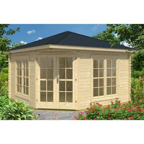 3m x 3m Budget Apex Log Cabin - Corner (228) - Double Glazing (40mm Wall Thickness)
