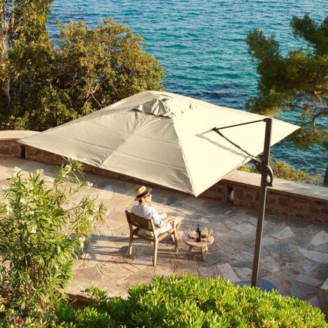 3m x 3m wind-resistant Belveo by Easywind cantilever parasol - Foehn, Colour: Beige