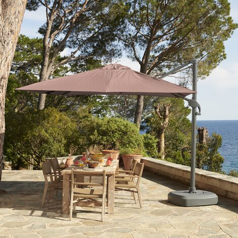 3m x 3m wind-resistant Belveo by Easywind cantilever parasol - Foehn, Colour: Beige-Brown