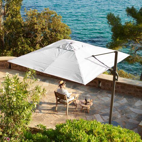 3m x 3m wind-resistant Belveo by Easywind cantilever parasol - Foehn, Colour: Ecru