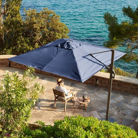 3m x 3m wind-resistant Belveo by Easywind cantilever parasol - Foehn, Colour: Grey