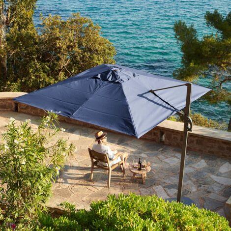 3m x 3m wind-resistant cantilever parasol - Foehn, Colour: Grey