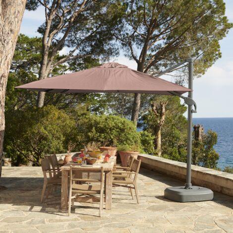 3m x 3m wind-resistant cantilever parasol - Foehn, Colour: Taupe