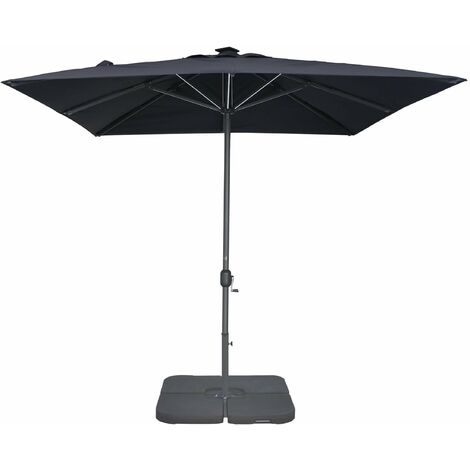 3m x 3m wind-resistant center pole parasol with LED system and solar panel - Bech - Dark Grey