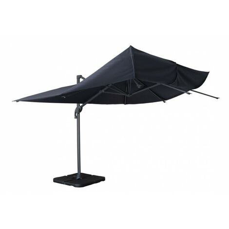 3m x 4m wind-resistant Belveo by Easywind cantilever parasol - Mistral, Colour: Grey