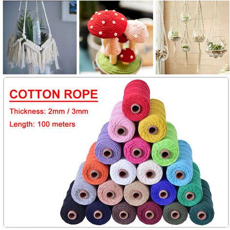 3mm 100m couleur corde de coton tissé à la main corde de fil de coton reliure décorative 9 couleurs (deeppink, 100m par 3mm)