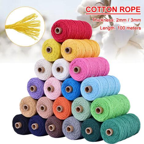 3mm 100m couleur corde de coton tissé à la main corde de fil de coton reliure décorative beige beige 100 m par 3 mm