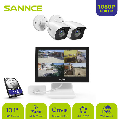 3MP HD Security Camera System with TVI/CVI/AHD/IP/CVBS 5-in-1 4CH DVR and 4Pcs IP66 weatherproof Indoor&Outdoor Bullet Cameras