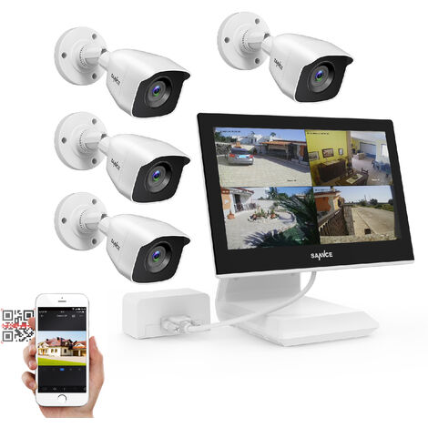 3MP HD Security Camera System with TVI/CVI/AHD/IP/CVBS 5-in-1 4CH DVR and 4Pcs IP66 weatherproof Indoor&Outdoor Dome Cameras