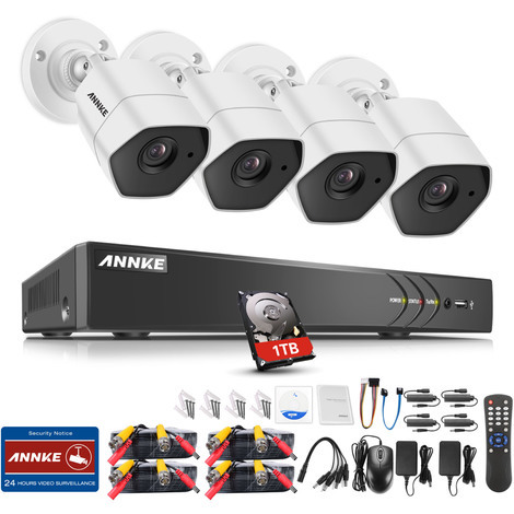 3MP HD Security Camera System with TVI/CVI/AHD/IP/CVBS 5-in-1 8CH DVR and 4Pcs IP66 weatherproof Indoor&Outdoor Bullet Cameras