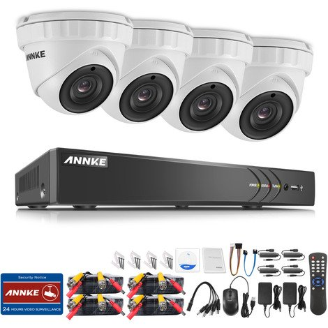 3MP HD Security Camera System with TVI/CVI/AHD/IP/CVBS 5-in-1 8CH DVR and 4Pcs IP66 weatherproof Indoor&Outdoor Dome Cameras