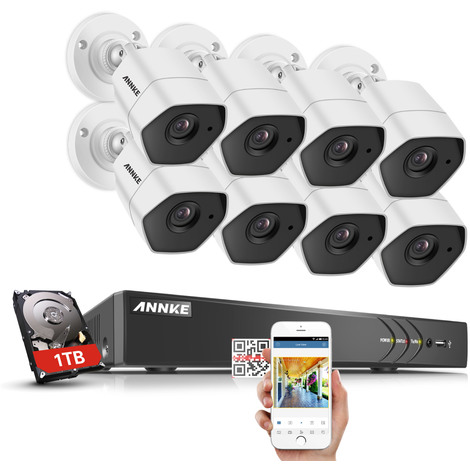 3MP HD Security Camera System with TVI/CVI/AHD/IP/CVBS 5-in-1 8CH DVR and 8Pcs IP66 weatherproof Indoor&Outdoor Bullet Cameras