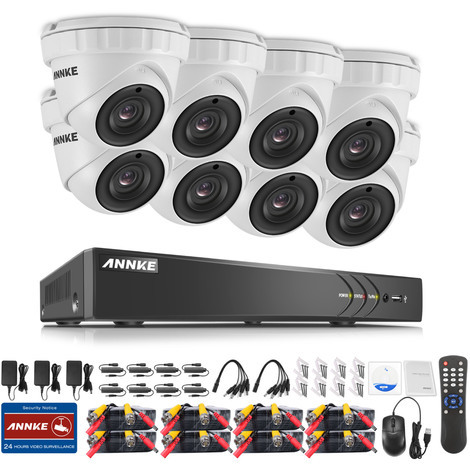 ANNKE 3MP HD 8CH DVR 4x 1080P Dome Outdoor TVI Home Security Camera System 1TB