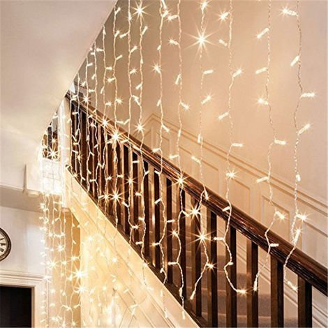 3mx3m String Lights Waterproof Curtain Lighting Indoor Outdoor Decoration 8 Modes 300 Warm White LEDs