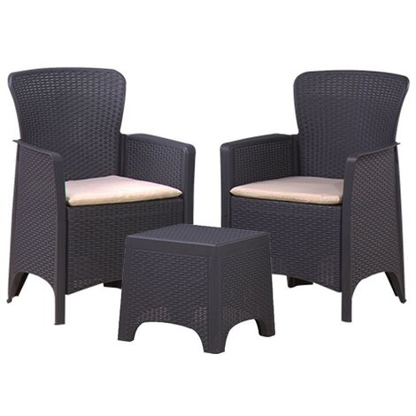 3PC Black Rattan Armchair & Table Bistro Balcony Set - Outdoor Garden Furniture