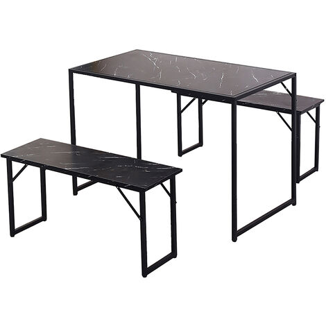 3PC Dining Table Set w/2 Benches Chairs Wooden Desk