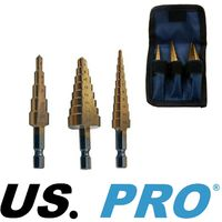3pc HSS STEP DRILL BIT SET 3mm to 20mm CONE CUTTERS Hole Saw by UK PRO TOOLS