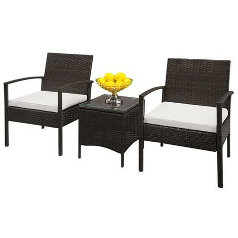 3PC Outdoor Rattan Bistro Set Furniture Garden Coffee Table Wicker Brown Gradient