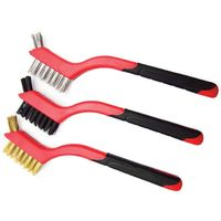 3pc Small Wire Hand Brush Set Nylon Brass Steel Brushes Paint Rust Remover