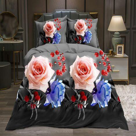 3PCS 3D Flower Printed Duvet Cover Pillow Cases Quilt Bedding Single Double king(200*200cm - Rose)