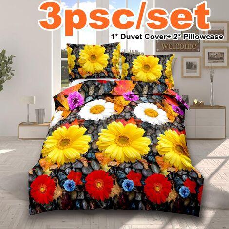 3PCS 3D Flower Printed Duvet Cover Pillow Cases Quilt Bedding Single Double king(chrysanthemum-200*200cm)