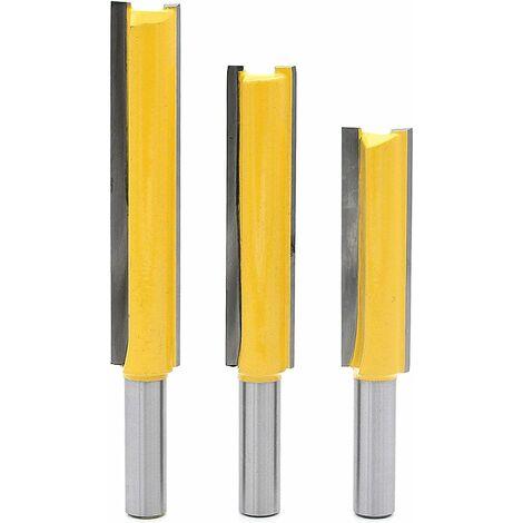"""3Pcs 8mm Queue Fraises de Fraisage extra longues, Fraise à Bois Fraise Extra-longue Fraise droite à bout 8mm * 1/2"""" * 50.8mm, 8mm* 1/2"""" * 63mm, 8mm* 1/2"""" * 76mm"""